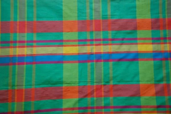 Bright Plaid Silk Fabric Drapery Panel Pinch Pleated