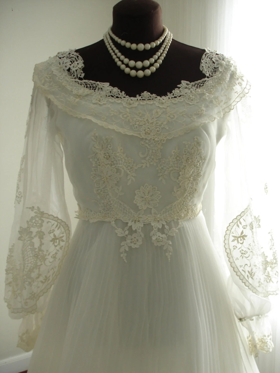 Guipure Lace House of Bianchi Wedding Dress with Full Pleated