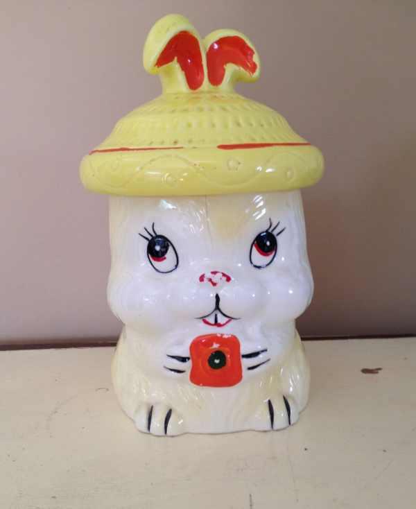 Vintage Bunny Rabbit Cookie Jar In Japan Kitsch