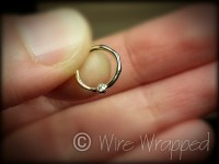SALE DIAMOND Septum Nose Ring Hoop 18 gauge 14k SOLID Gold