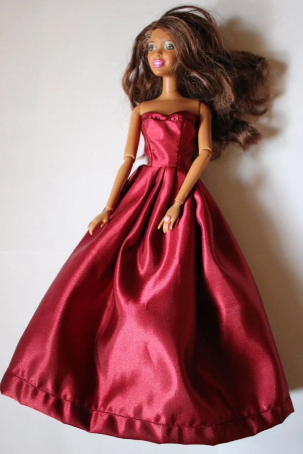 11.5 Doll Clothes Burgundy Barbie Gown