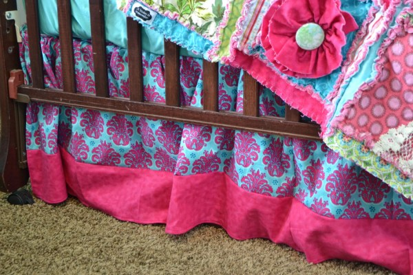 Hot Pink Crib Skirt Aqua Damask Dust Ruffle