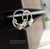 Items similar to Evil Skull Hoop Earrings, Hoop Ring ...