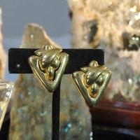 Triangle Door Knocker Earrings Nubby Challah Bread Design