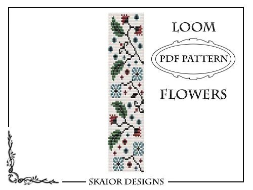 Flower Loom Bead Pattern Square Stitch Leaves Loom Bracelet