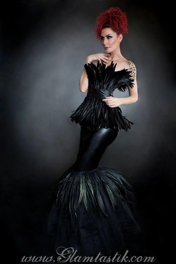 Custom Size Black Feather Mermaid Trumpet Style Tulle Prom