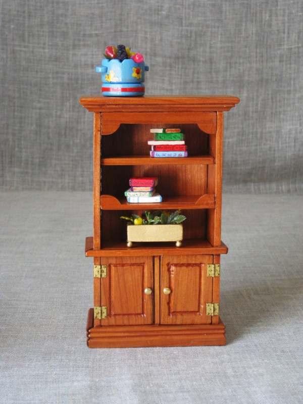 Vintage Wooden Dollhouse Bookcase Folk Art Doll House