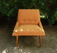 Mid century lounge chair in orange tweed