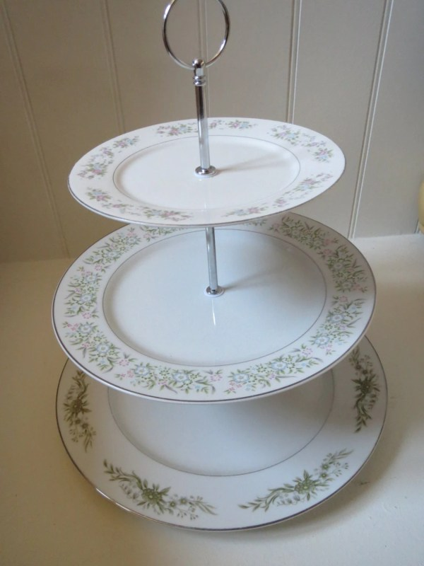 Pastry Stand Three Tier Serving Tray Vintage Plates
