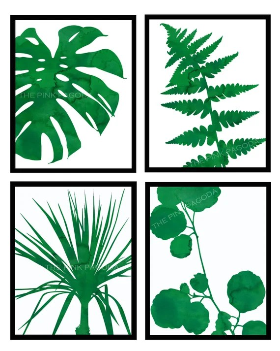 Set of Four Green and White Graphic Botanical Prints 11x14