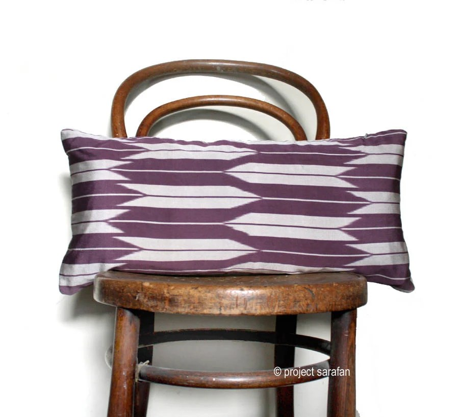 Yagasuri Recycled Decorative Pillow / Throw Cushion Cover. 30x60cm. 12x24'' from Vintage Kimono Silk and Natural Linen. LAST ONE - ProjectSarafan