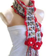 Items similar to flower neck scarf, crochet scarf, unique ...