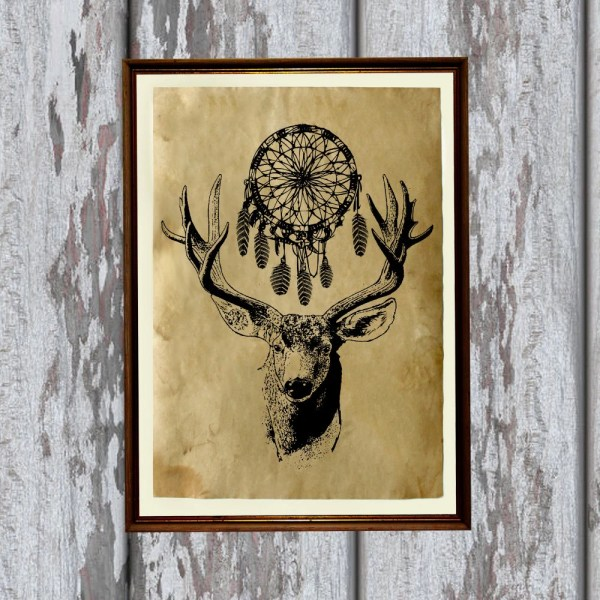 Dreamcatcher Decor Native American Art Tribal Deer Print