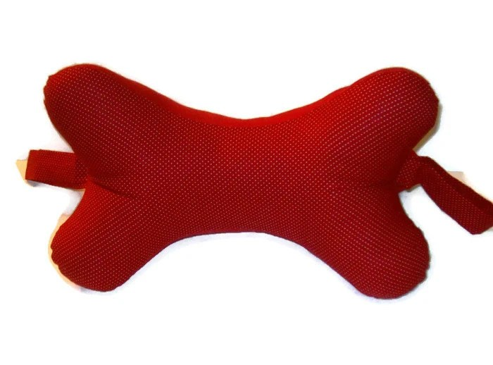 Red Dog Bone Shaped Neck Pillow by MadewithLovebyDeena on Etsy
