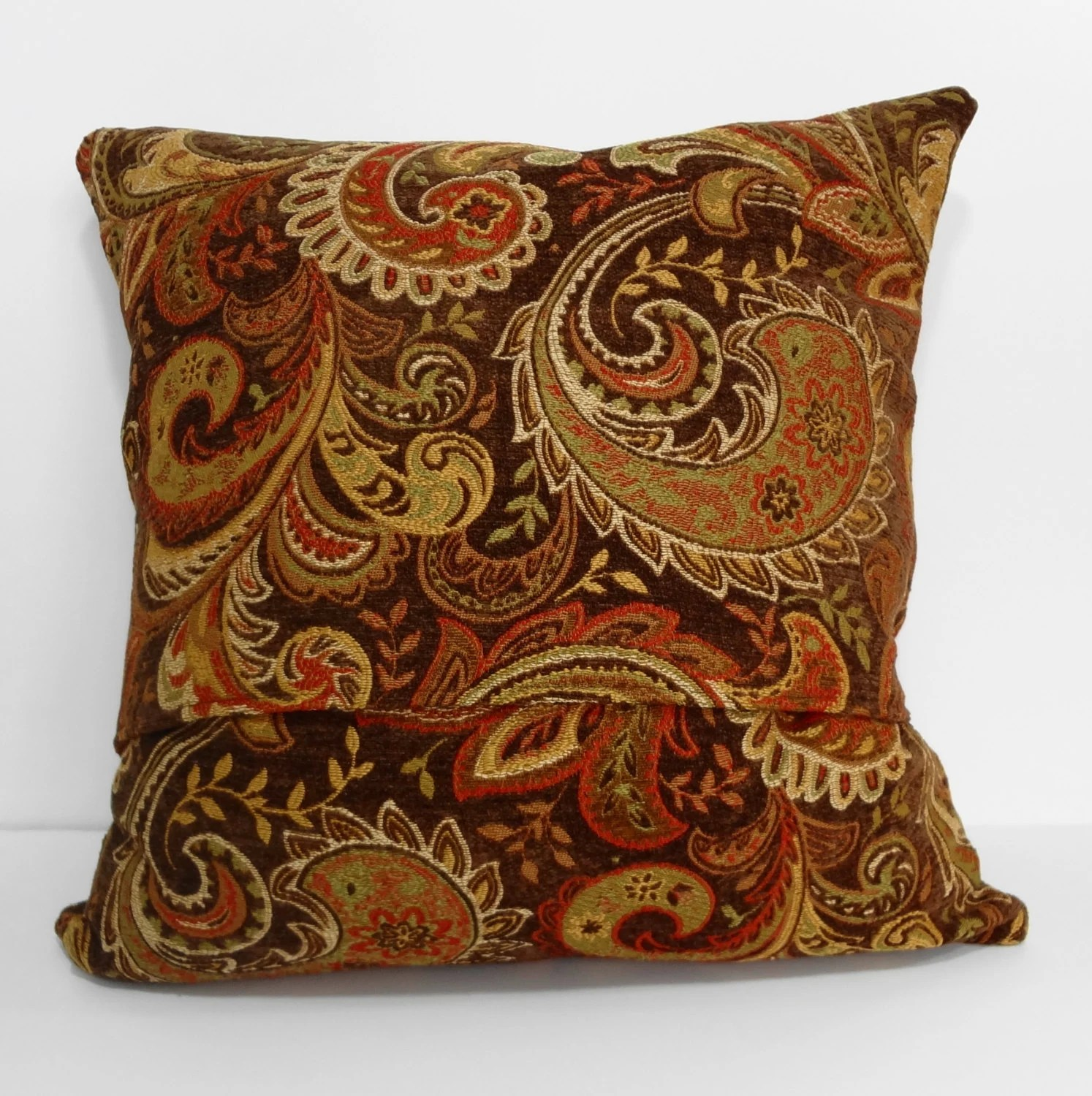 Decorative Chenille Paisley Pillow Cover Brown Gold Orange