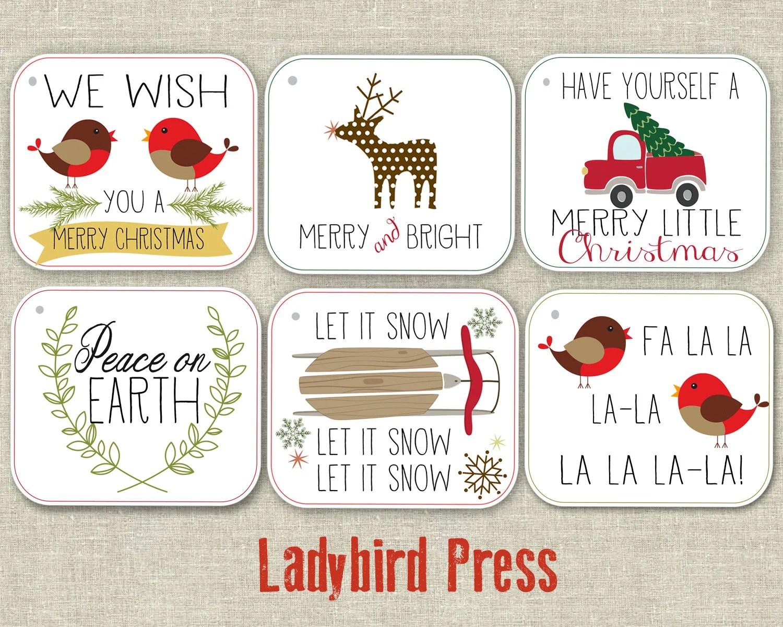 Regalo de Navidad para imprimir etiquetas - feliz Navidad etiquetas - descarga instantánea