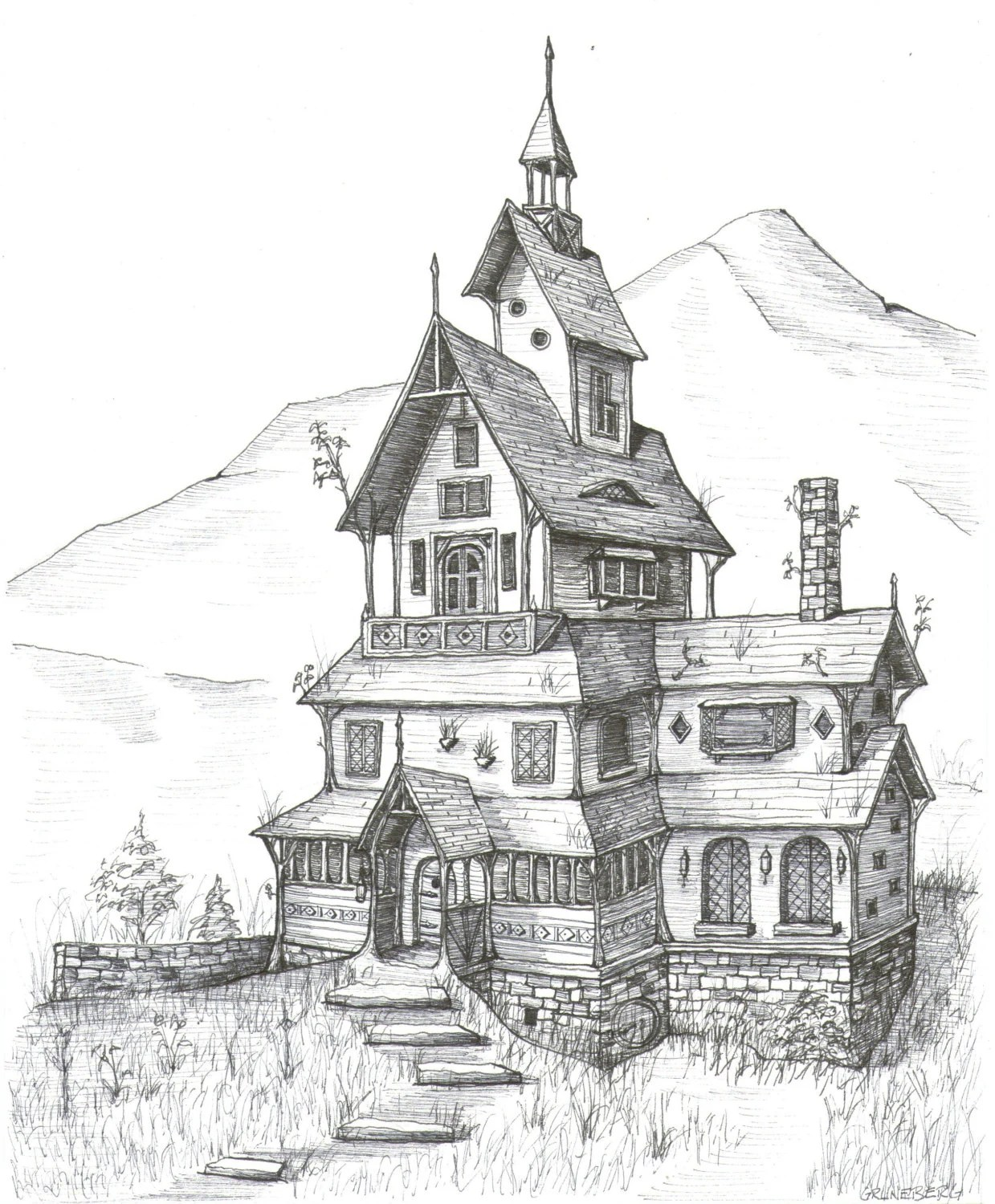Stave Church House Fantasy Landscape Medieval by