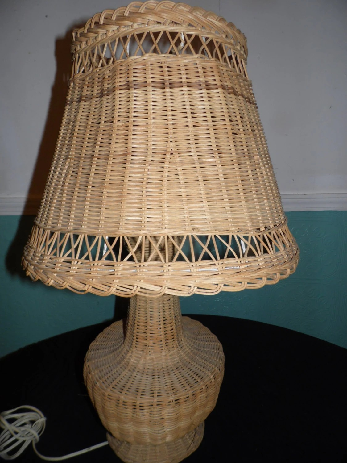 Vintage Wicker Rattan Woven Jute Table Lamp Electric Lamp