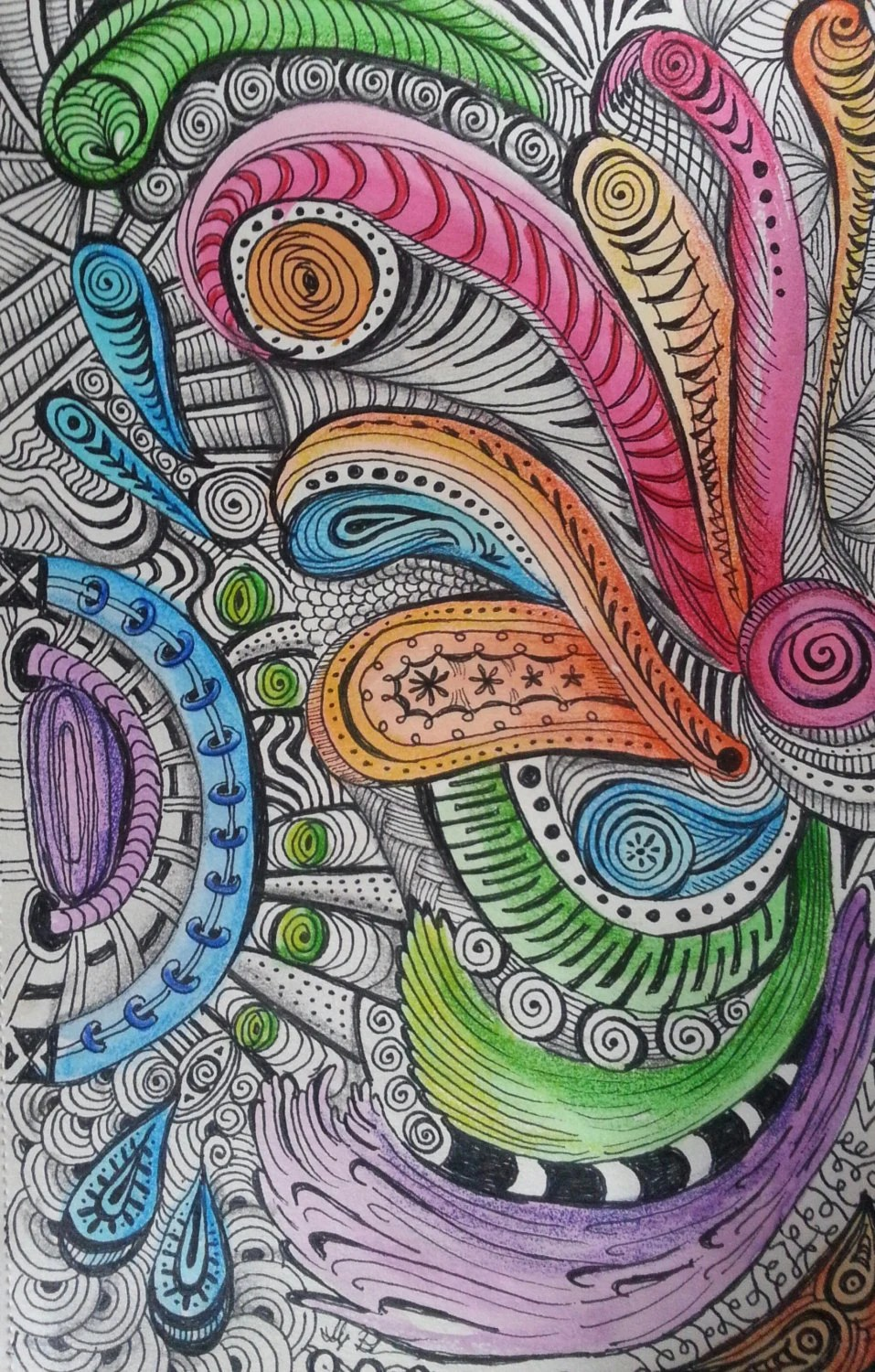 Items Similar To Zentangle Inspired Paisley Wheels Water