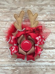 christmas boutique hair bow reindeer