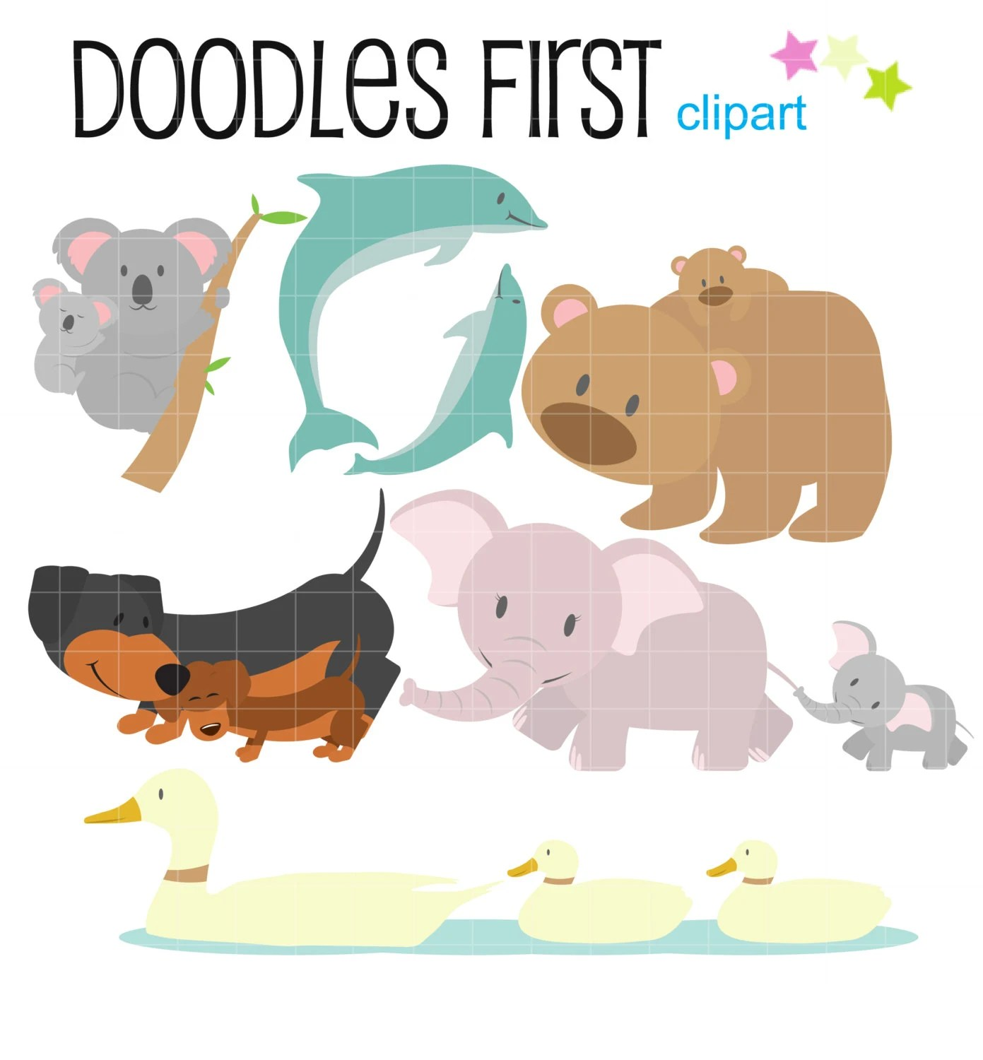 Cute Mom And Baby Animals Clipart Digital Clip Art For