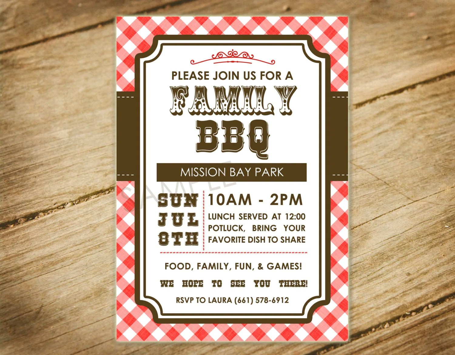 Family Bbq Picnic Family Reunion Western Themed Invitation