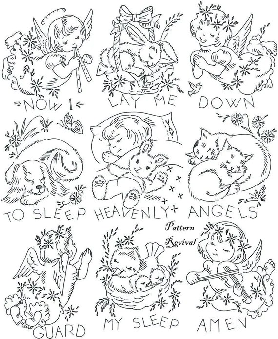 Embroidery Quilt 818 Heavenly Angels Crib Baby pattern PDF