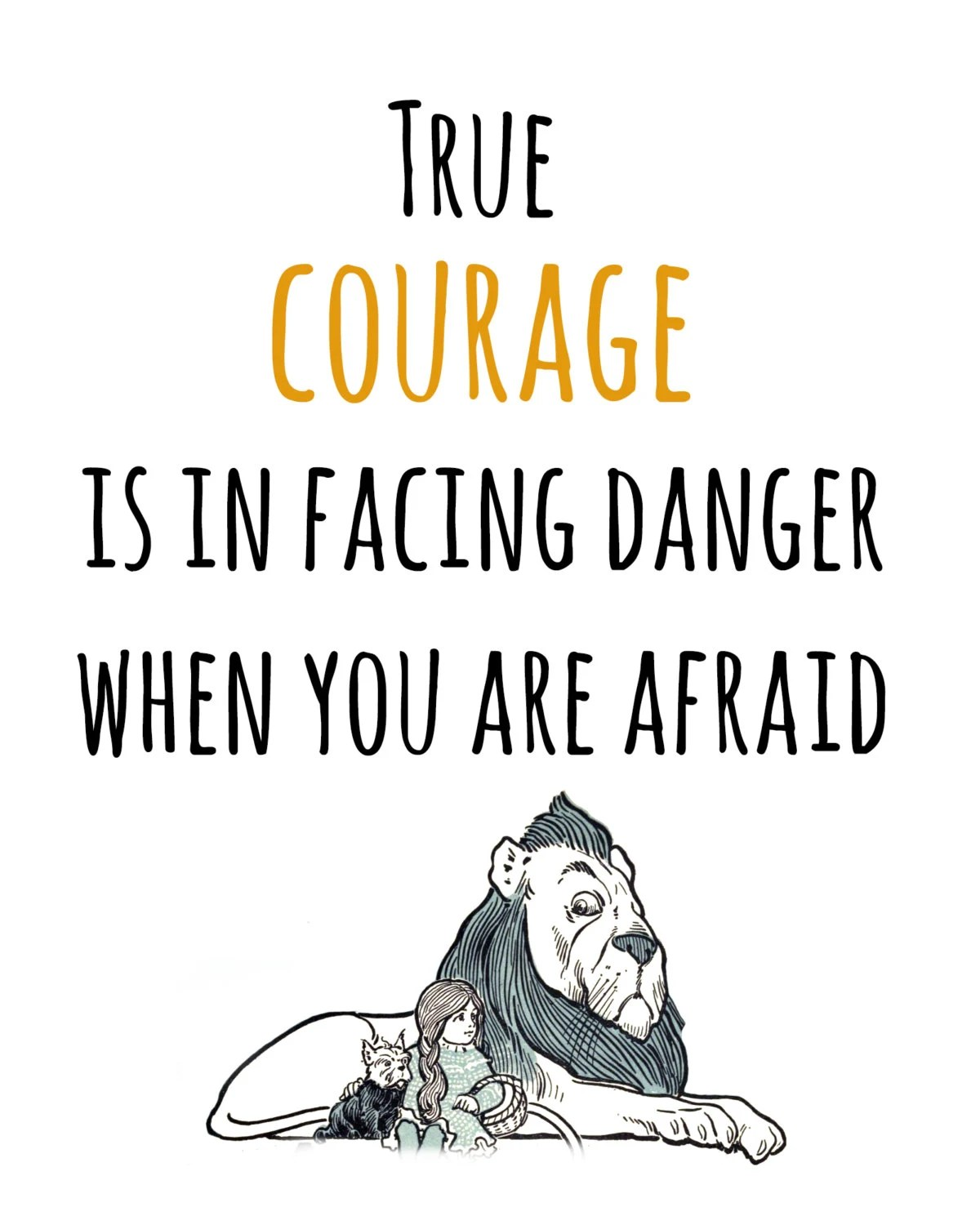 Wizard of Oz Courage Quote Print Book Quote by ecritdesigns