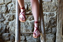 Women' Leather Sandals Barefoot Women Red