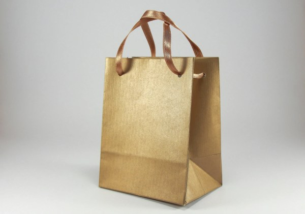 50 Extra Small Gift Bags Antique Gold Paper Bags with Satin