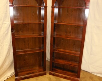 hitchcock desk and chair wooden garden covers ethan allen solid pine pair of tall open bookcases (b)