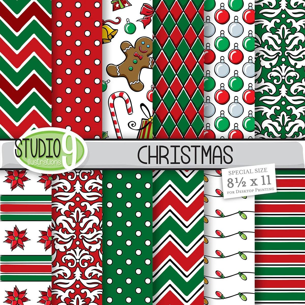 Christmas Digital Paper Red Amp Green Christmas Pattern Prints