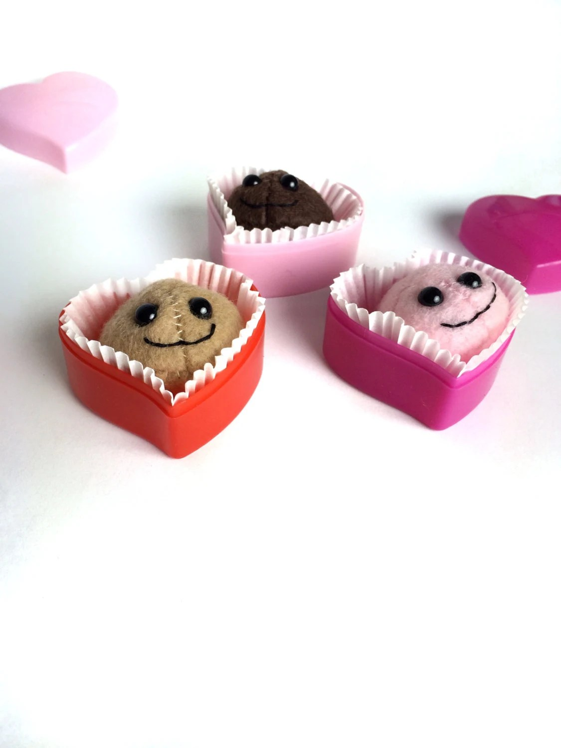 Valentine Chocolate Plush - Plush Toy Valentine in Heart Box - Gift for Him - Gift for Her - Handmade - EpicToyChest