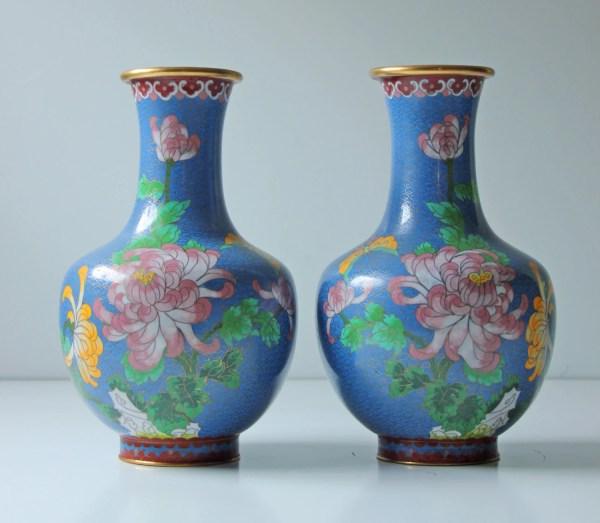 2 Antique Chinese Cloisonne Enamel Vases Floral Teal