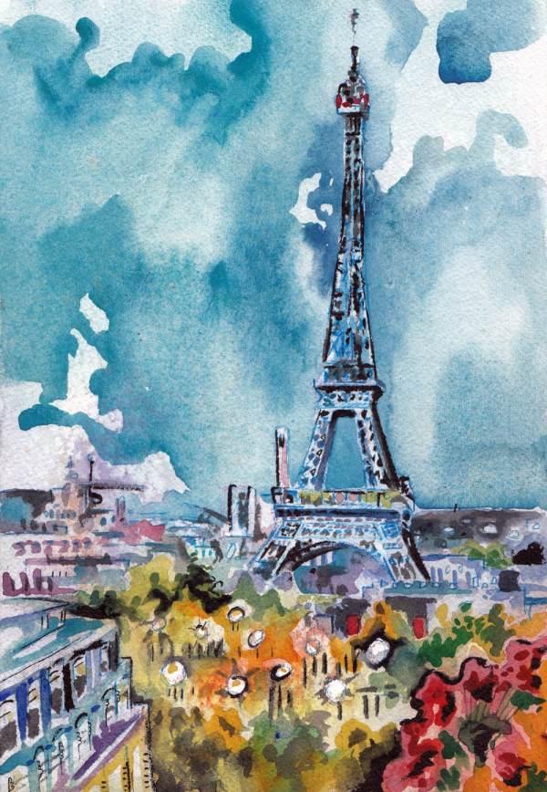 Eiffel Tower Painting Original Watercolor Of Paris Jen