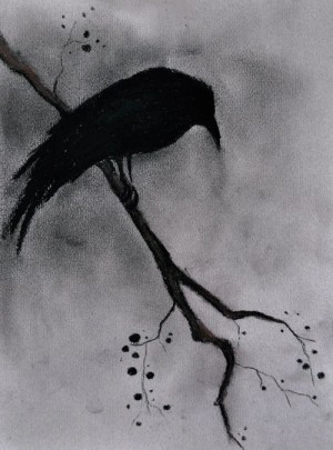 dark drawing raven gothic charcoal drawings halloween bird crow creepy goth painting ravens cuervo crows oscuros tree mysterious