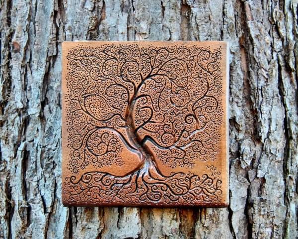 Tree Of Life Bronze Stone Sculpture Garden Decor