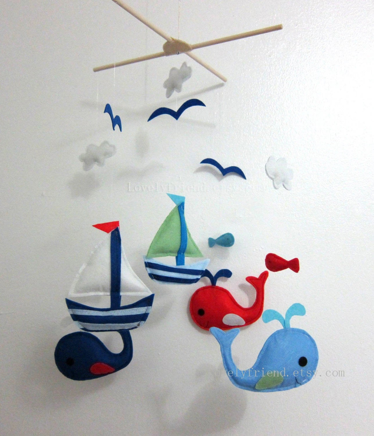 Baby Mobile Whale And Sailboat Baby Crib Mobile Felt Sea