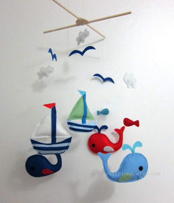 Baby Mobile Whale And Sailboat Crib Felt Sea