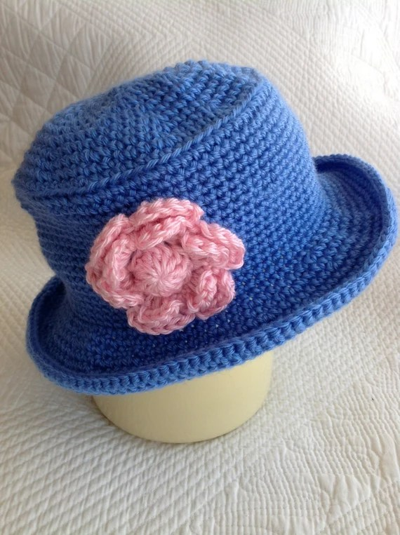 Crochet Baby Hat, Child Hat, Child Hat with Flower, Baby Girl Hat, Little Girl Hat, Hat with Roses, Blue Hat, Little Lady Hat