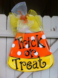 Candy Corn Halloween Wooden Door hanger Personalized