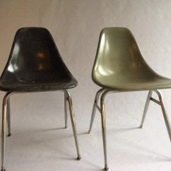 Fiberglass Shell Chair Folding Tall Vintage Eames Style Unmarked Chairs Set Of 2