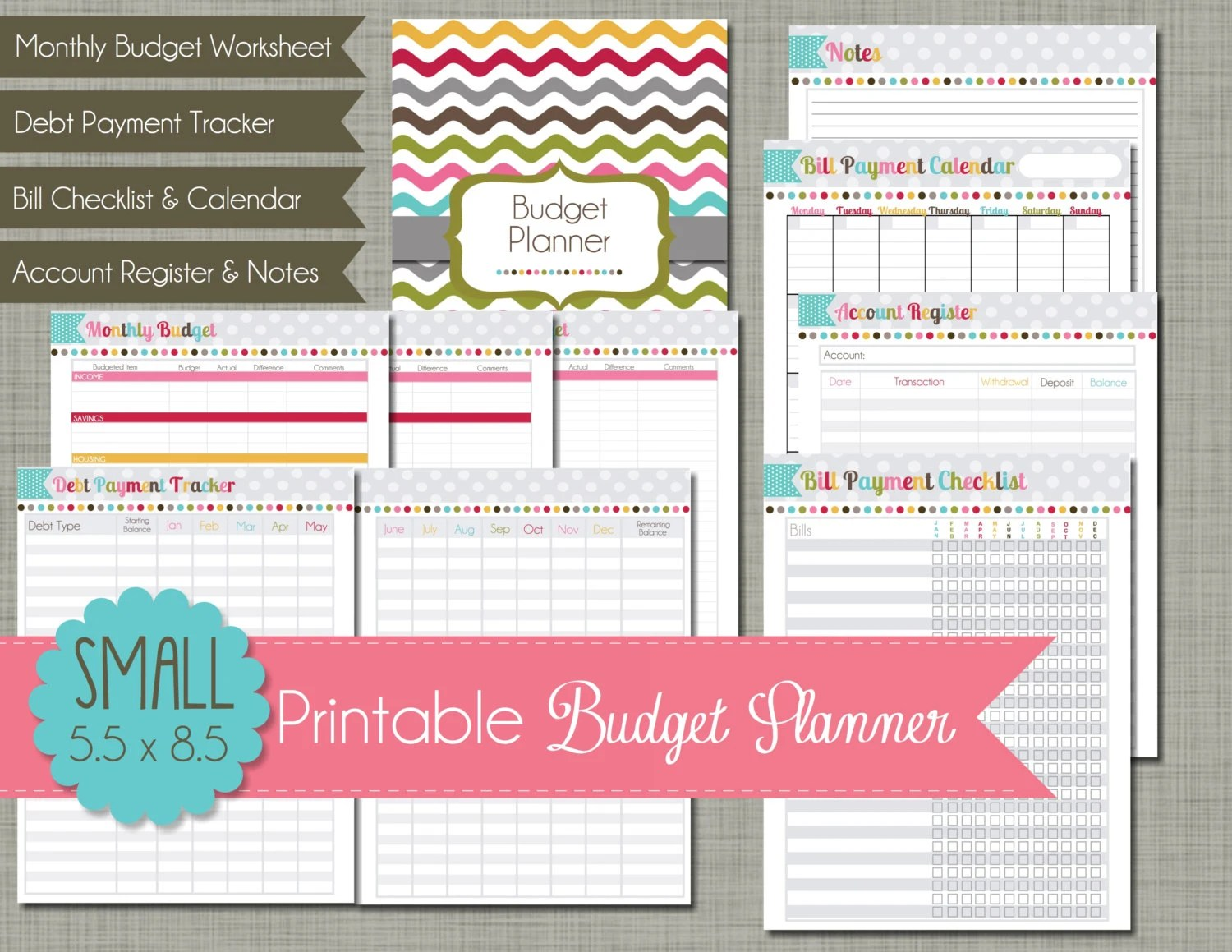 Budget Planner Printable Set Sized Small 5 5 X