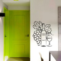 Wall Decal Wine bottle with Grapes Decal Vinyl Sticker Cafe