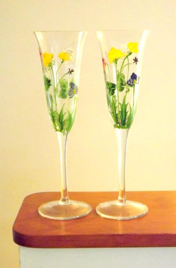 Flower Wine Glasses Pair Of Long Stemmed 2