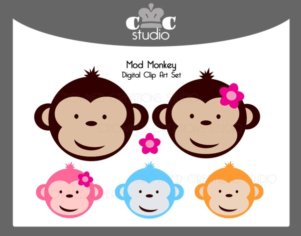 Mod Monkey Clip Art Set With Pink Flower Invitations