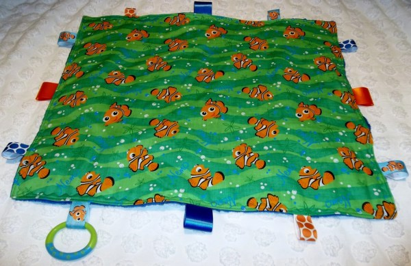 Rare Finding Nemo Green And Blue Minky Large 18 X 22 Lovey