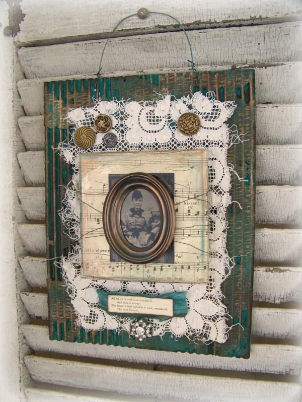Handmade Altered Art Assemblage Vintage Collage