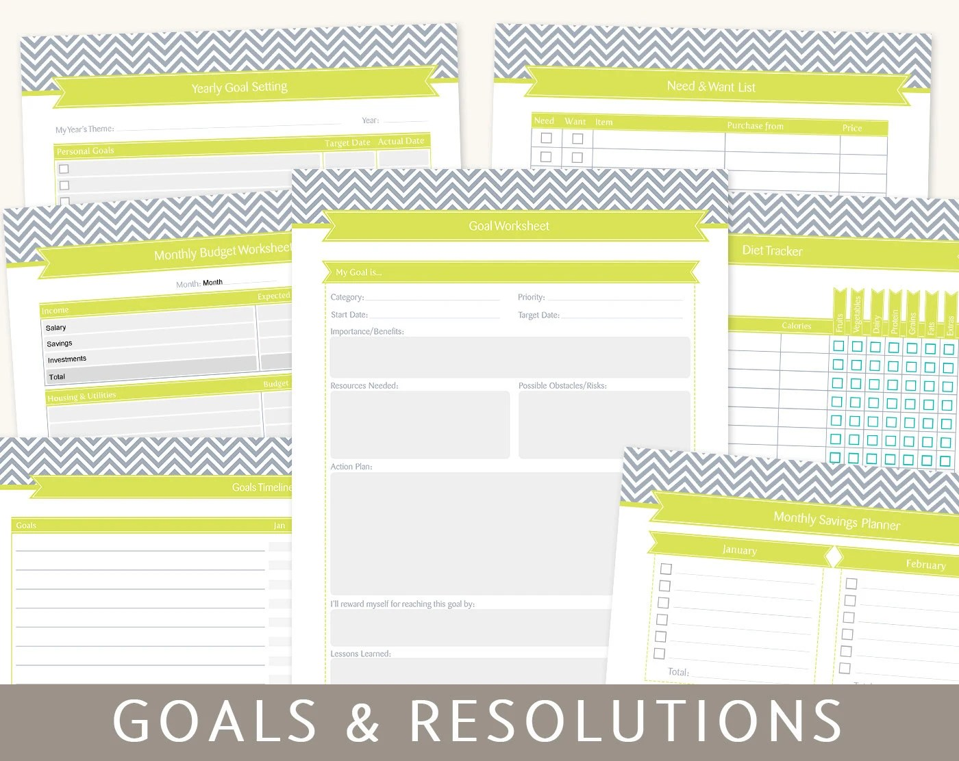 Goals Planner Goal Setting Amp New Year S Resolutions 9 By Bizuza