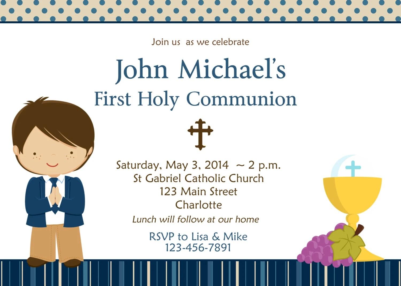 First Holy Communion Invitation Boys First Communion